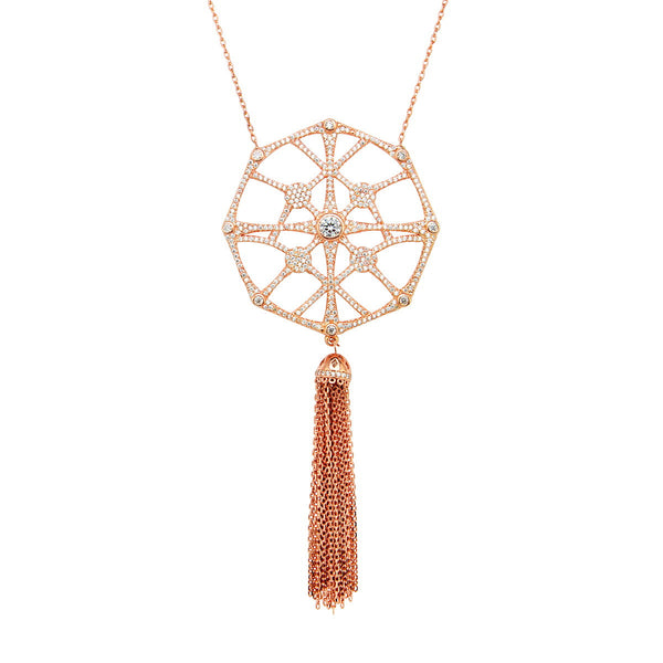 CATERINA Sterling silver long spiderweb necklace with tassel