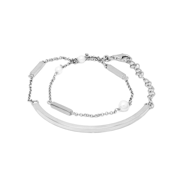 LILIAN Sterling silver wrap around chain bar and pearl bracelet