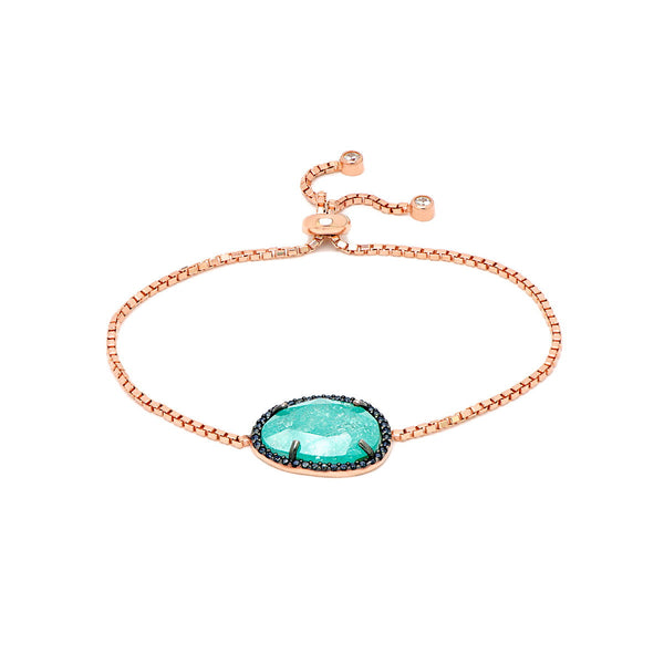 AYLIN Sterling silver rose gold plated box chain bracelet with emerald collared zirconia