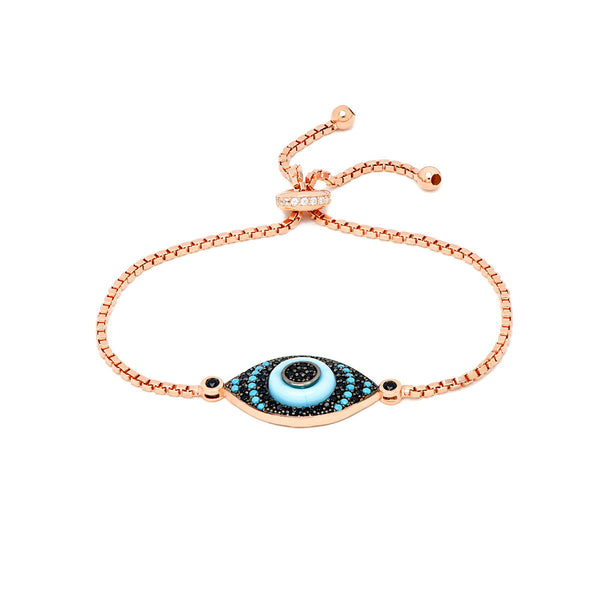 MAREA Sterling Silver rose gold plated Nano Turquoise Evil Eye adjustable box chain Bracelet