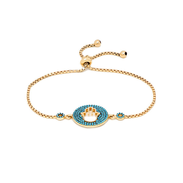 BLUE SILVIA ON GOLD Sterling silver rose gold plated adjustable tennis bracelet with round Hamsa round charm and nano turquoise