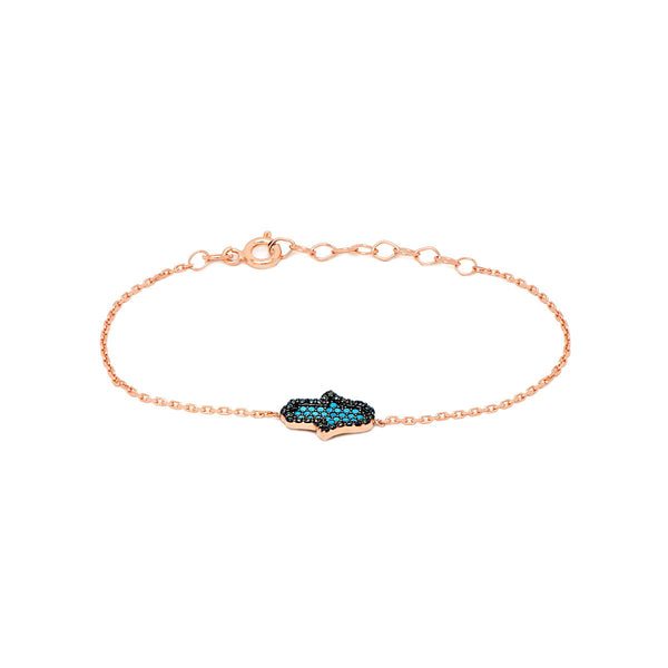 NARMIN Sterling Silver fashionable mini hamsa handmade bracelet with turquoise stone rose gold plated