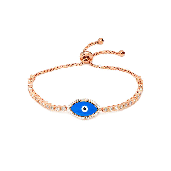 AIDA Sterling silver Evil eye gold plated adjustable tennis bracelet with zirconia