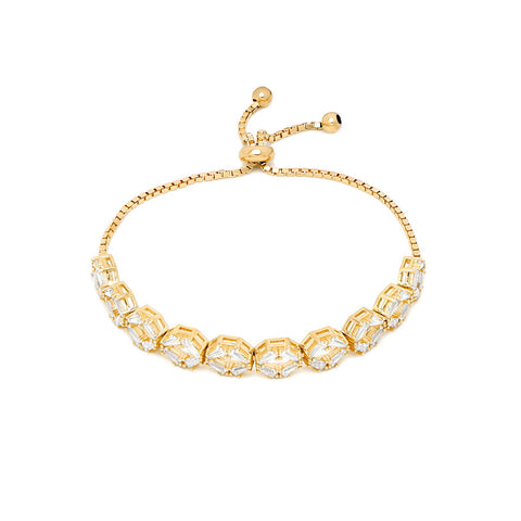 ELLA Gold Plated Sterling Silver Adjustable Beaded Bangle Bracelet