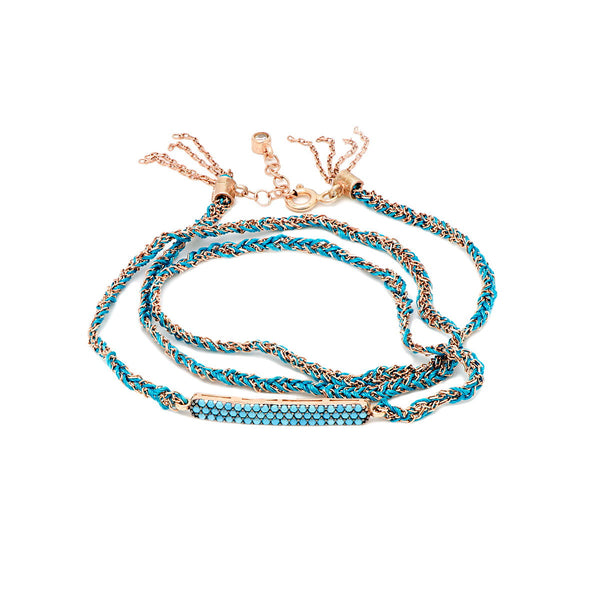 EMILY Sterling silver multy strand wrap around bracelet rose gold plated with turquoise
