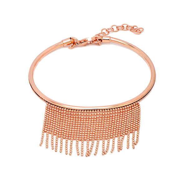 KAYLA Sterling silver rose gold plated bangle bracelet with fringe