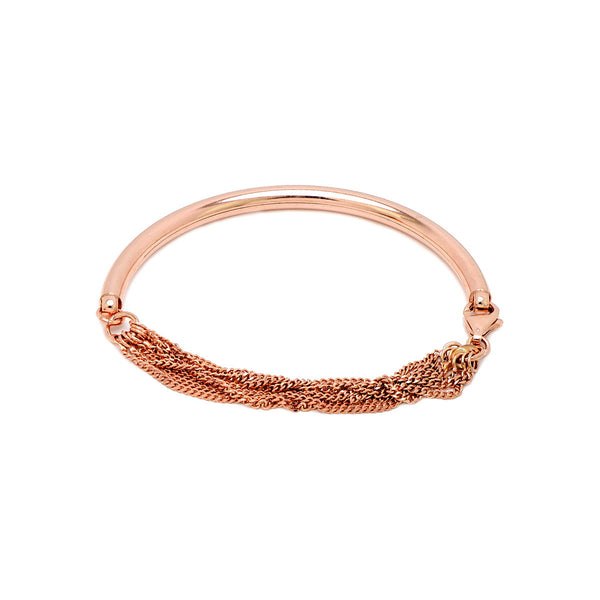 RAQUEL Sterling silver rose gold plated half oval bangle bracelet with multi chain.