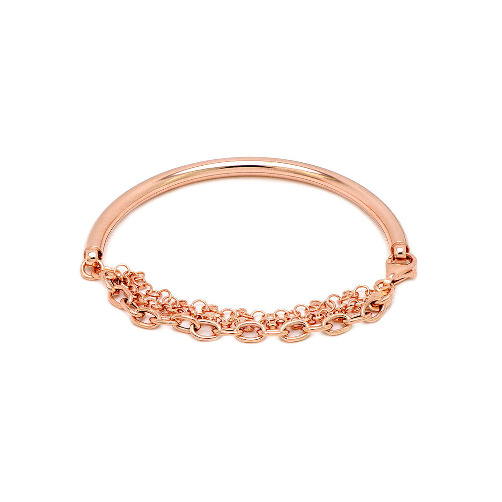 with plated bracelets bangle gold fashion collections rose products chain bracelet sterling half silver oval ladies rebekka bangles