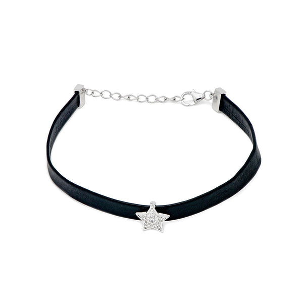 OLIVIA Leather bracelet with silver charm and white zirconia
