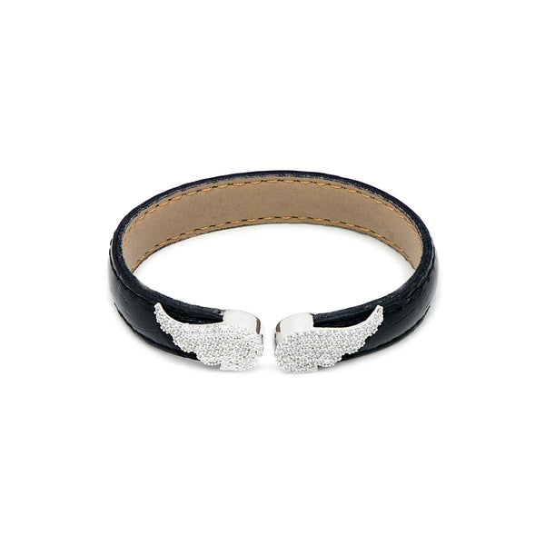 EMMA Sterling silver and leather bracelet with  gold plated angles wings.
