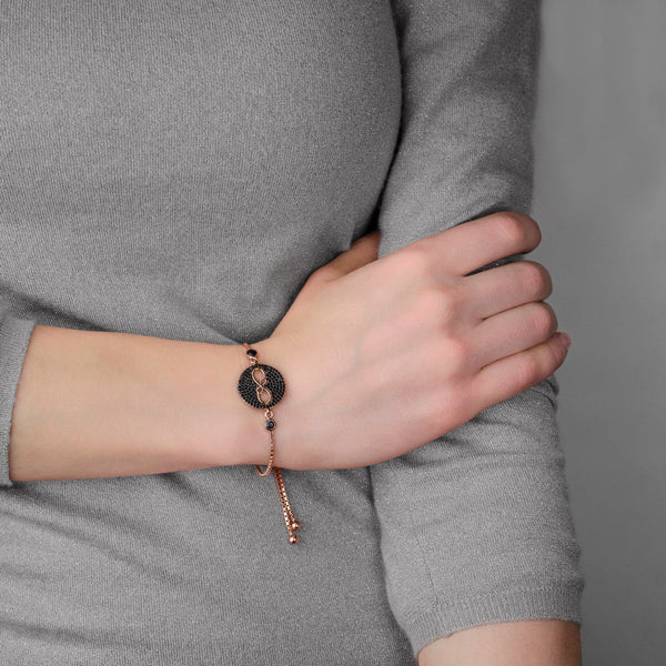 BLACK NARA ON  GOLD Sterling Silver rose gold plated adjustable bracelet with black zircon infinity charm