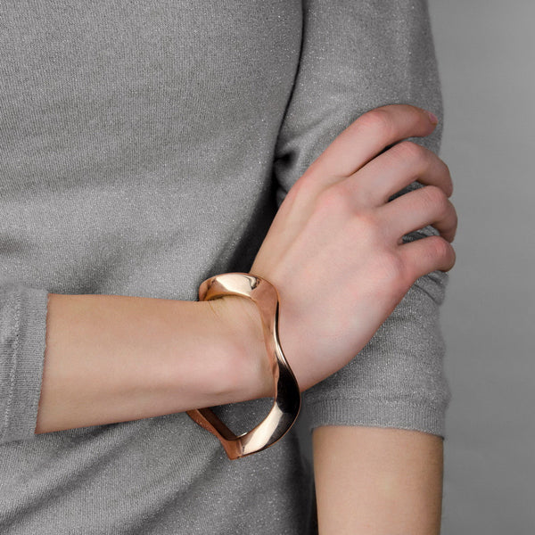 ALLISON Sterling silver solid rose gold pated slip on bangle bracelet.