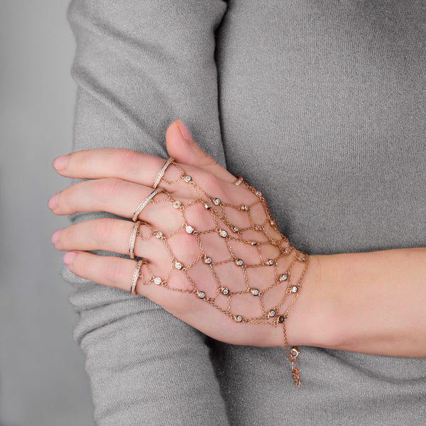 MARTA Sterling silver full hand chain glove with 6 adjustable rings
