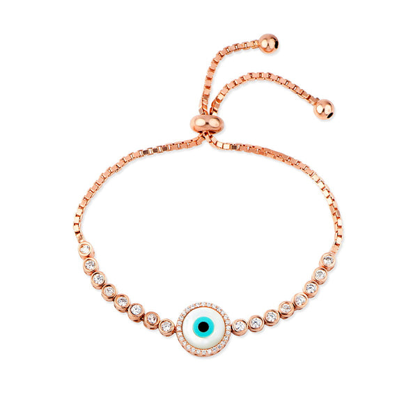 ANZIA Sterling silver rose gold plated adjustable tennis bracelet with clear Evil eye charm and white zirconia.