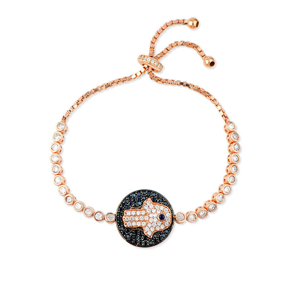 CAMELIA Sterling silver rose gold plated adjustable tennis bracelet with round evil eye and hamsa charm plate, black and white zirconia