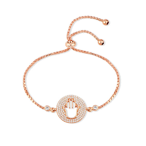 ROSA Sterling silver adjustable rose gold plated Tennis Bracelet with Baguette zirconia