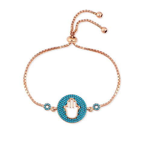 SOPHIA Sterling silver rose gold plated bangle bracelet with multi chains and bezels with zirconia