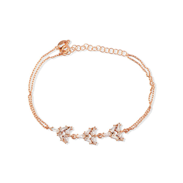 PARI Sterling Silver rose gold plated bracelet with baguette zirconia charms