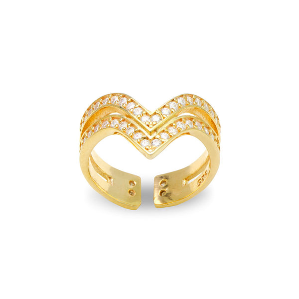 SIMONA Sterling silver open double V ring with white zirconia