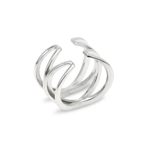 ELLISA Sterling silver double x open ring