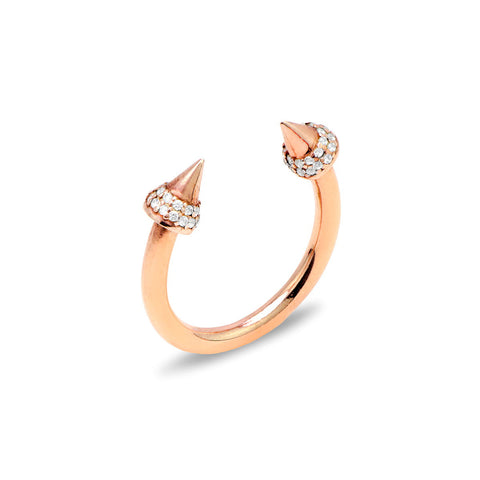 DAFNE Sterling silver infinity band with baguette zirconia pink gold plated