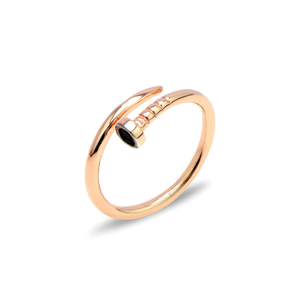 ROMIA Sterling silver nail ring with black zirconia rose gold plated