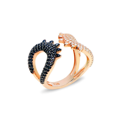 KARISA Sterling silver double bar open ring with black zirconia rose gold plated