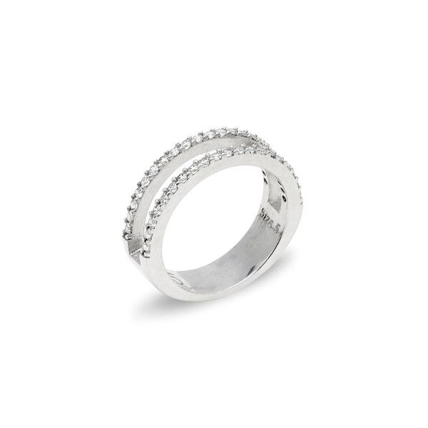 EVA WHITE Sterilng silver double band ring with white zirconia