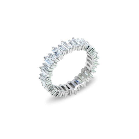 AMALIA Sterling silver zircon flower - cluster and x one finger double ring