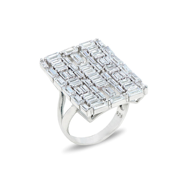 DRINA Sterling silver rectangle cluster ring with white zirconia