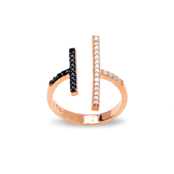 ALESSA Sterling silver double T bar open ring with black zirconia rose gold plated