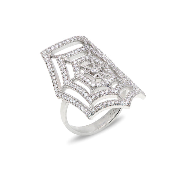 SAMUELA Sterling silver spider-wed design rings with white zirconia