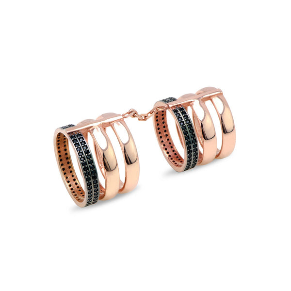 LARENSA Sterling silver one finger double ring with black zirconia 18k rose gold plated