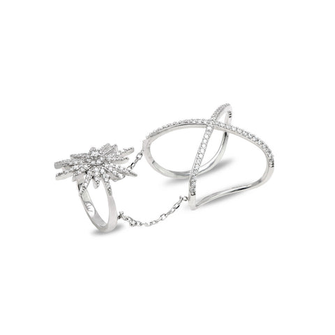 SERENA Sterling silver lightning design ring with white zirconia
