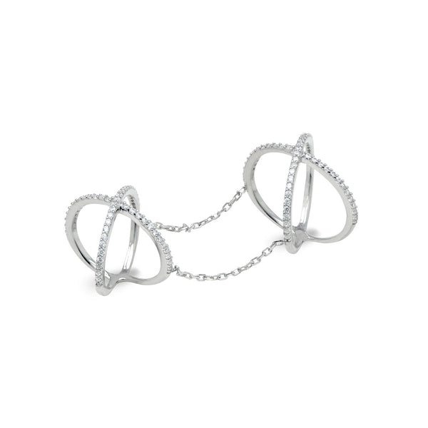 AMINA Sterling silver double x ring one finger double ring