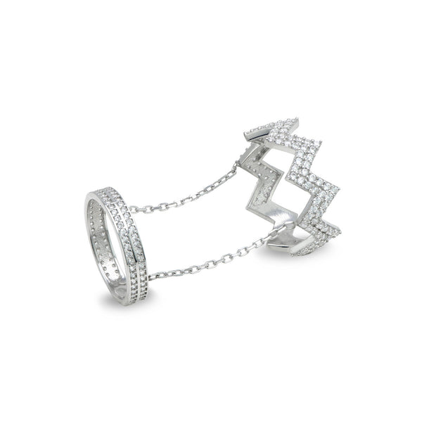 KARINA Sterling silver one finger double ring set with zirconia