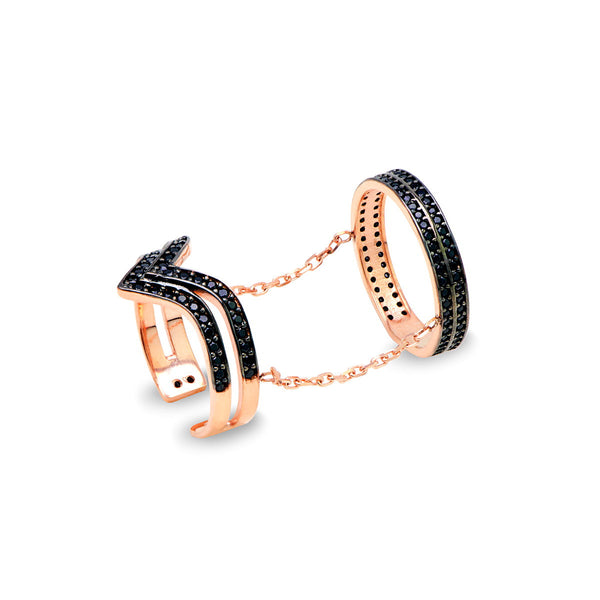 ENRICA Sterling silver one finger double V ring with black zirconia 18k rose gold plated