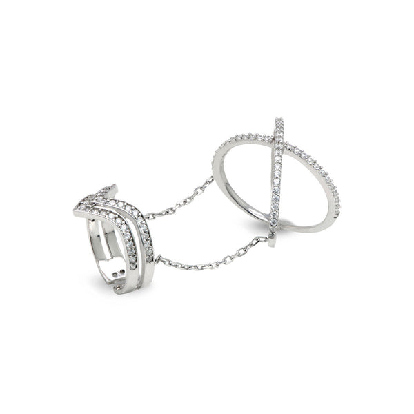 FAUSTA Sterling silver one finger double ring set with zirconia