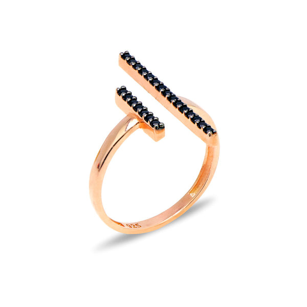 STEFANIA Sterling silver double bar open ring with black zircons rose gold plated