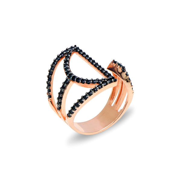 ANETTA Sterling silver modern design open ring with black zirconia rose gold plated