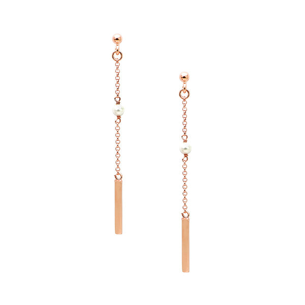 SAVERIA Sterling silver long hanging bar and pearl earrings