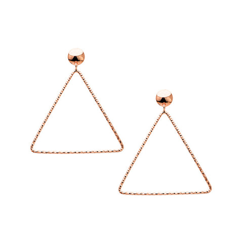 MIRABELLA Sterling silver drop star earrings with black zirconia rose gold plated