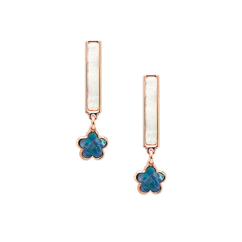 FINA Sterling silver wire rose gold plated hanging square earrings