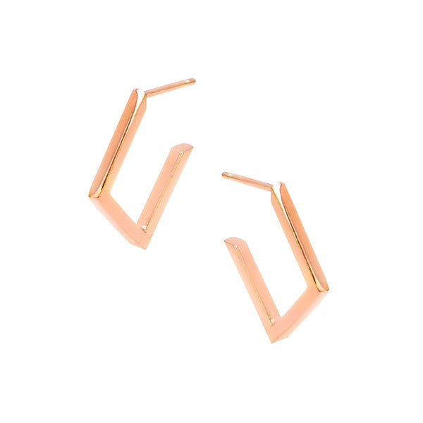 53d9ece59 FRANCA Sterling silver mini square hoop earrings roe gold plated ...