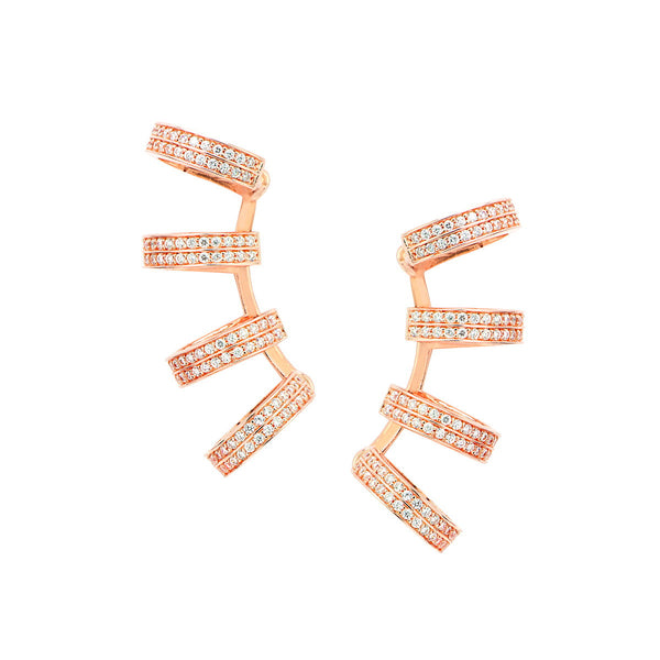 GIANAJ Sterling silver multi hoop earring cuff with zirconia and rose gold plated