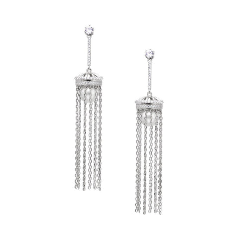 RENATA Sterling silver huggie earings with multy chain drop