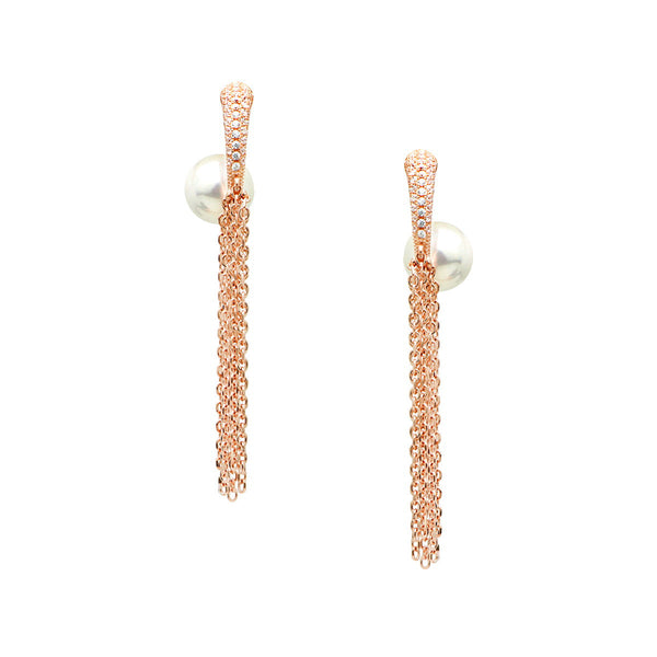 YSABEL Sterling silver multi chain rose gold plated earrings with white pearl