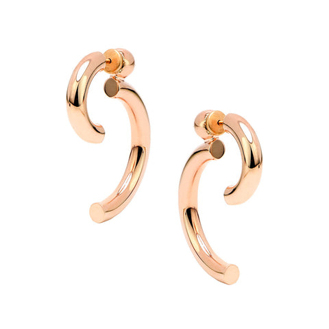 EVELINA Sterling silver flame design cuff earrings with black zirconia