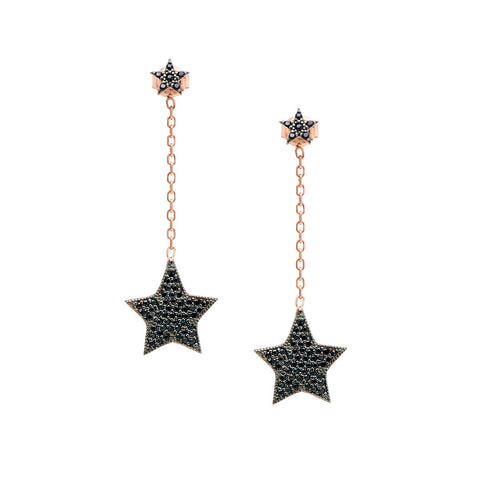 SIENA Sterling silver wire rose gold plated triangle hanging earrings