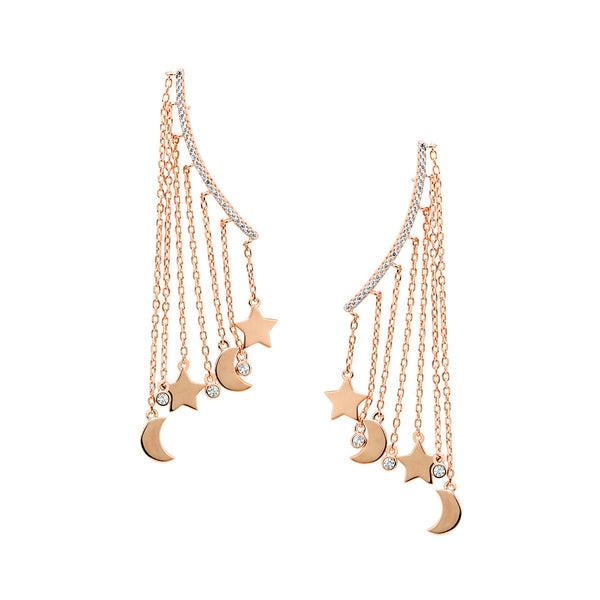 DANIELA Sterling silver bar earrings with multi chains and charms